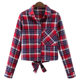 'Maribel' Plaid Crop Shirt - Goodnight Macaroon