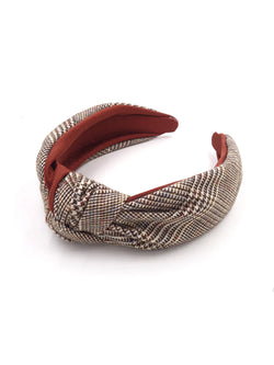 'Lily' Houndstooth Brown Headband