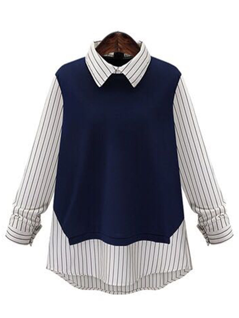 'Natania' Striped Mock Layer Shirt / Top