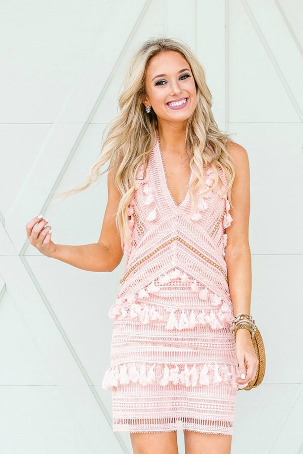 Goodnight Macaroon 'Ariana' Pink Tassels Crochet Lace Dress by Champagne & Chanel Blogger 2