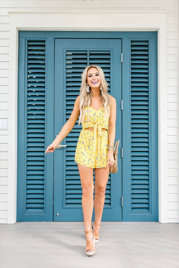 'Alyssa' Floral Print Tied Front Romper by Champagne & Chanel Goodnight Macaroon Blogger