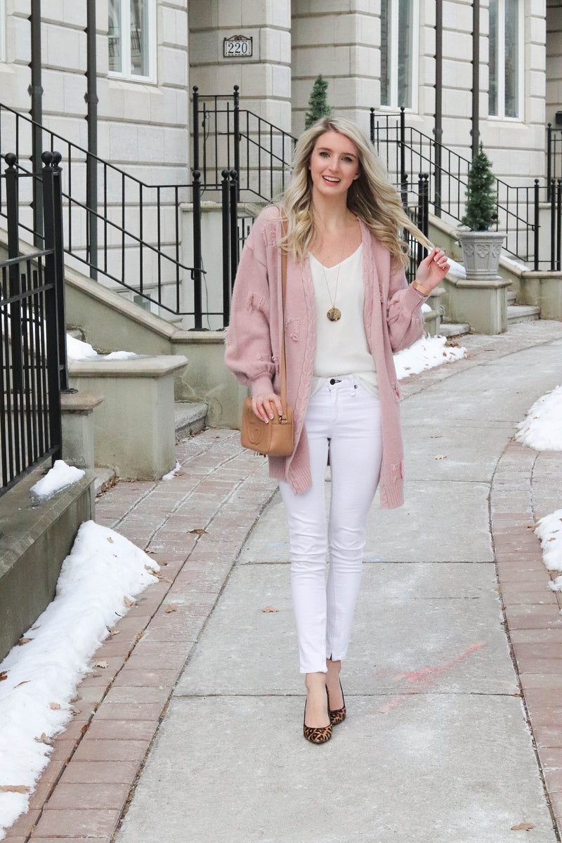 'Mariella' Pink Distressed Pattern Cardigan ( 50% off! )