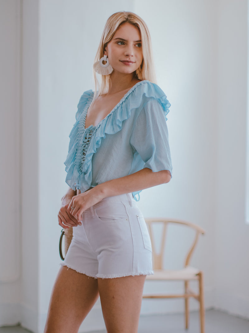 Goodnight Macaroon 'Irmgard' Lace-up Ruffle Top Model Side Half Body