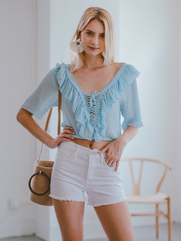 Goodnight Macaroon 'Irmgard' Lace-up Ruffle Top Model Front Half Body