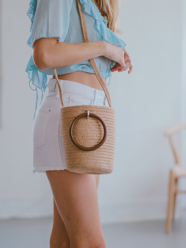 'Terri' Two-way Rattan Mini Bucket Bag