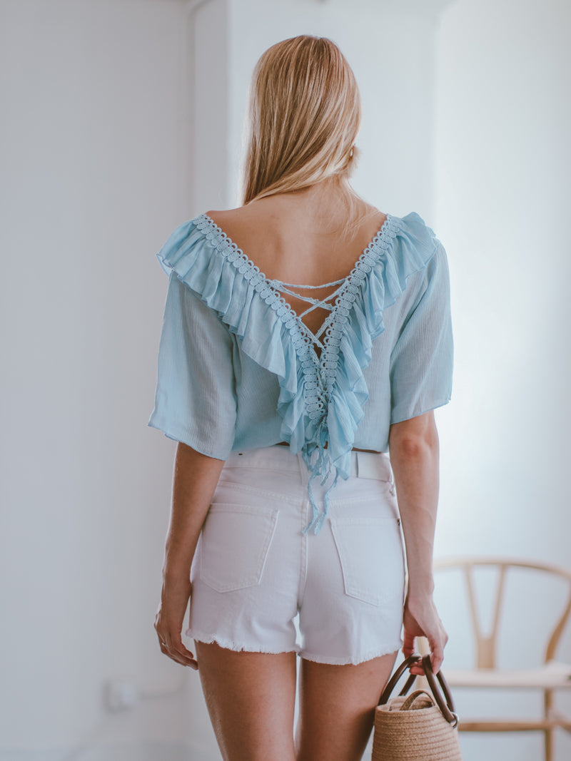 Goodnight Macaroon 'Irmgard' Lace-up Ruffle Top Model Back Half Body