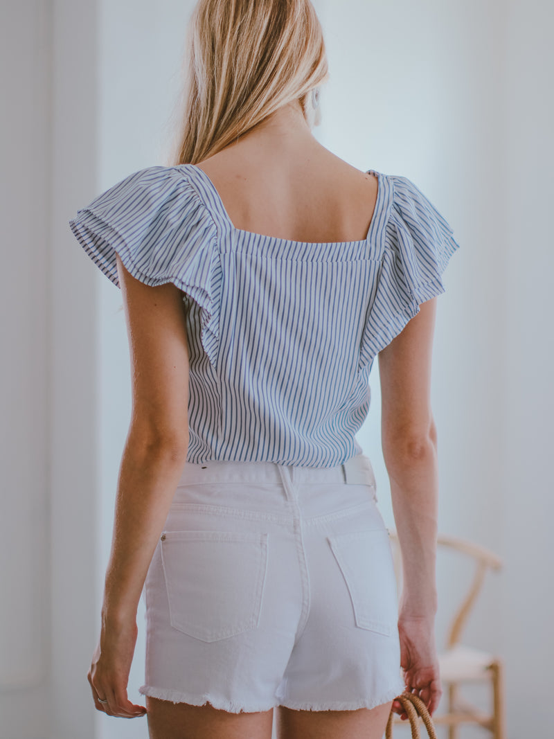 Goodnight Macaroon 'Florida' Striped Two Layer Ruffle Cropped Top Model Back Half Body