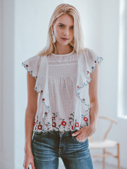 Goodnight Macaroon 'Kaley' Embroidered Waterfall Ruffle Top Model Front Half Body
