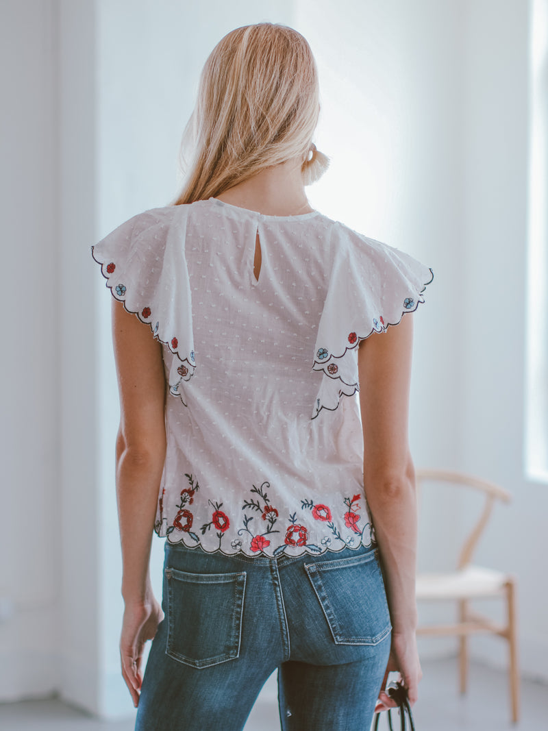 Goodnight Macaroon 'Kaley' Embroidered Waterfall Ruffle Top Model Back Half Body