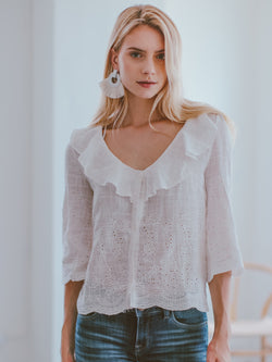 Goodnight Macaroon 'Tomika' Sheer Ruffle V-neck Top Model Front Half Body