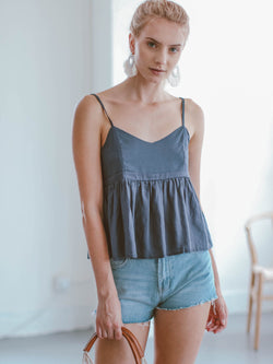 Goodnight Macaroon 'Laurel' Pleated Flared Peplum Camisole Top Model Front Half Body