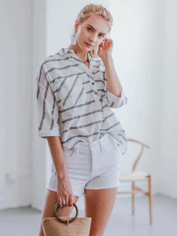 Goodnight Macaroon 'Maeve' Striped Quarter Sleeve Shirt Model Front Half Body