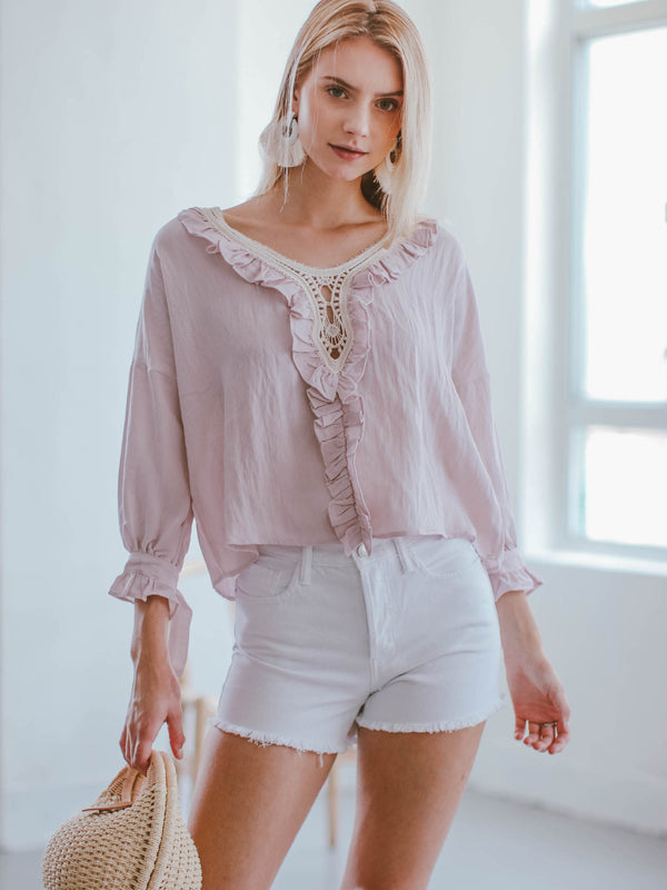 Goodnight Macaroon 'Cali' Pink Crochet Ruffle Blouse Model Front Half Body