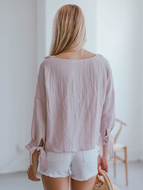Goodnight Macaroon 'Cali' Pink Crochet Ruffle Blouse Model Back Half Body