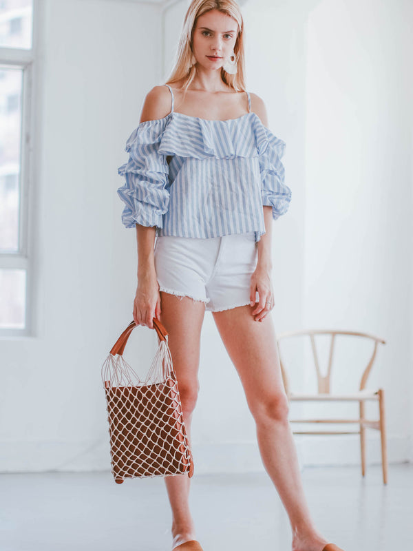 'Bailee' Striped Puffy Sleeve Cold Shoulder Top