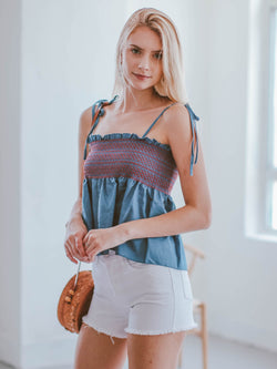 Goodnight Macaroon 'Dayana' Ruched Tied Strap Frilled Chambray Top Model Side Half Body