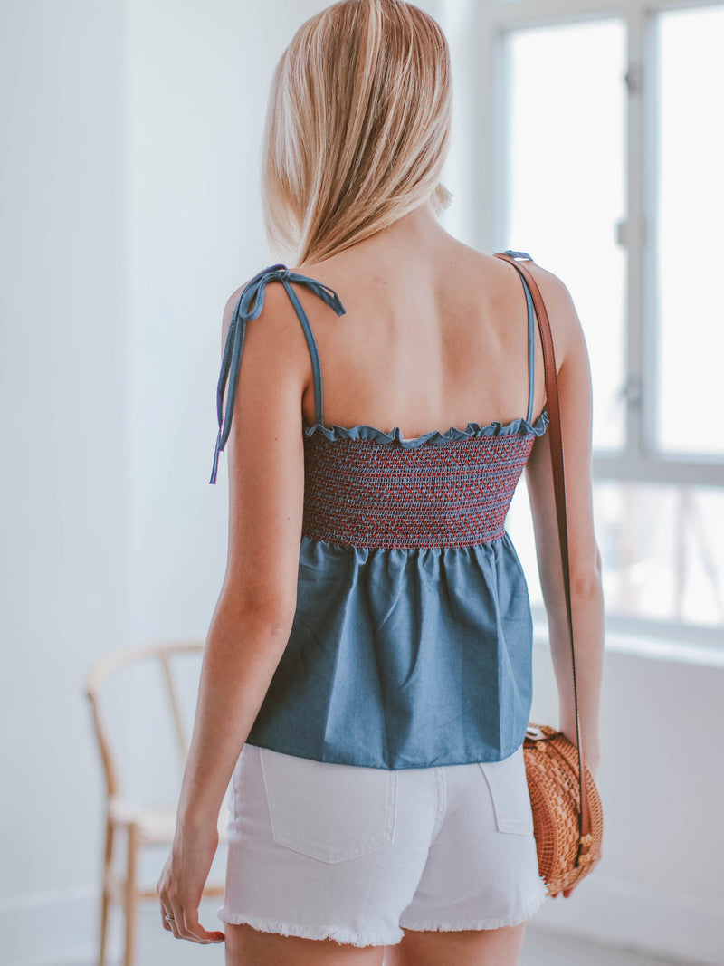 Goodnight Macaroon 'Dayana' Ruched Tied Strap Frilled Chambray Top Model Back Half Body