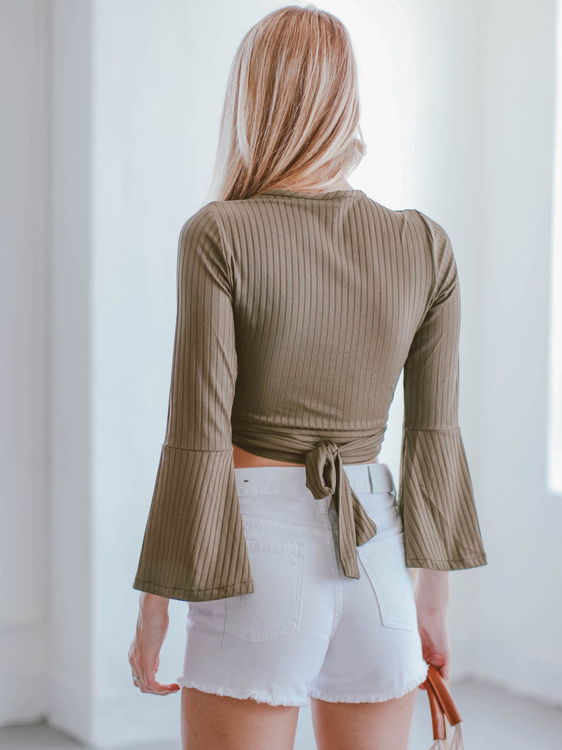 Goodnight Macaroon 'Felicity' Ribbed Bell Sleeve Wrapped Cropped Top Model Back Half Body