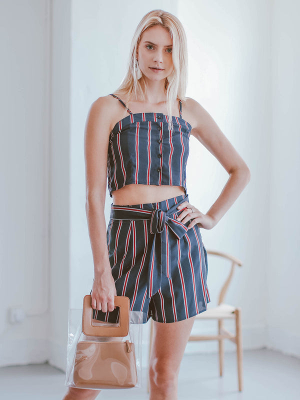 Goodnight Macaroon 'Elliott' Striped Top and Shorts Two Piece Set Model Front Half Body