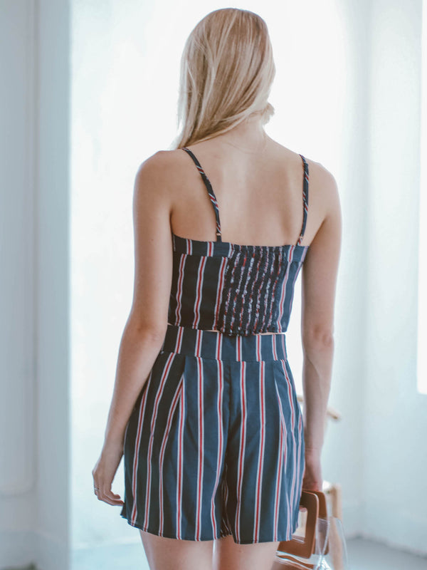 Goodnight Macaroon 'Elliott' Striped Top and Shorts Two Piece Set Model Back Half Body