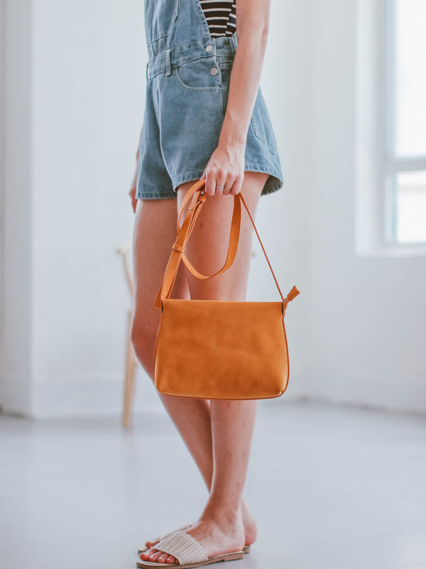 'Marley' Faux Suede Yellow Shoulder Bag