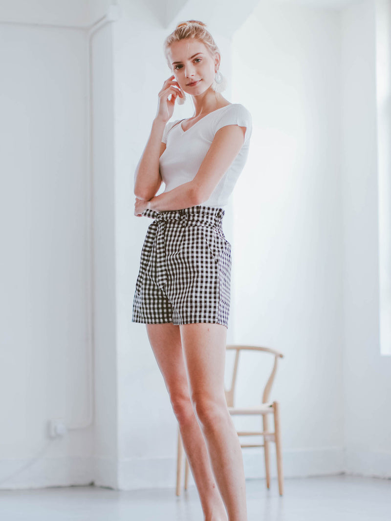Goodnight Macaroon 'Daniela' Gingham Paper Bag Shorts Model Side Full Body