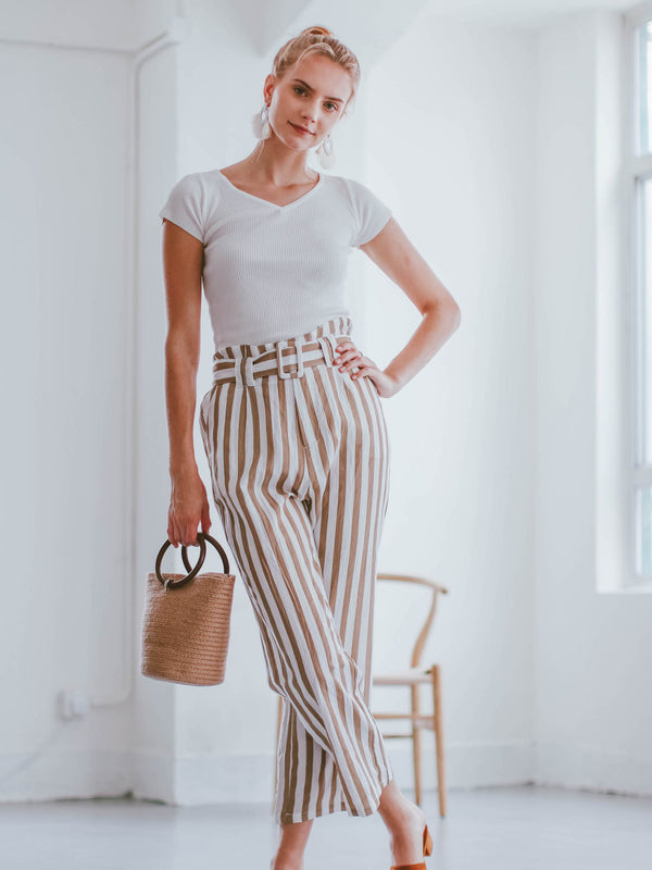Goodnight Macaroon 'Joy' Striped High Waisted Belted Linen Pants Model Front Full Body