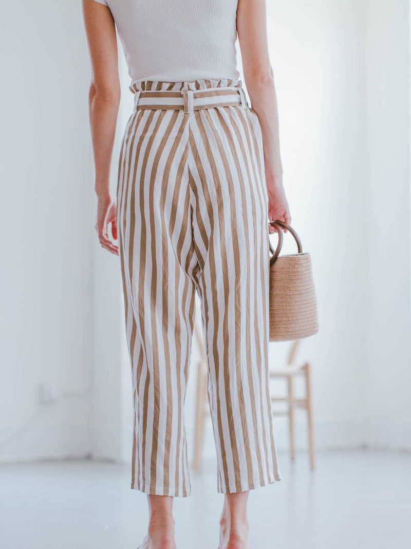 Goodnight Macaroon 'Joy' Striped High Waisted Belted Linen Pants Model Back Half Body