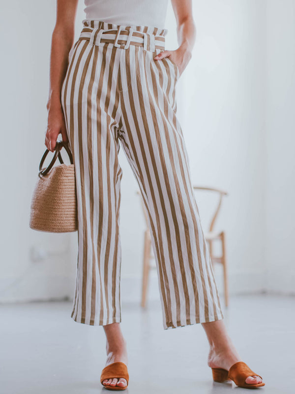 Goodnight Macaroon 'Joy' Striped High Waisted Belted Linen Pants Model Front Half Body