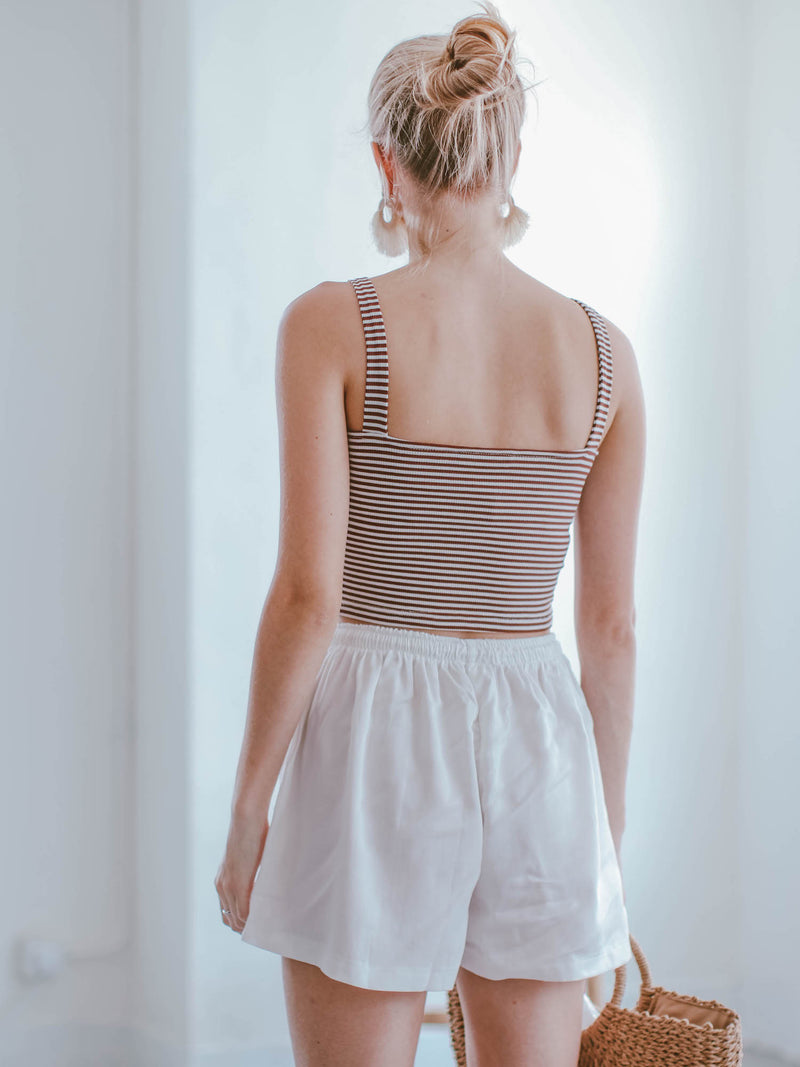Goodnight Macaroon 'Kaia' Striped Ribbed Camisole Cropped Top Model Back Half Body