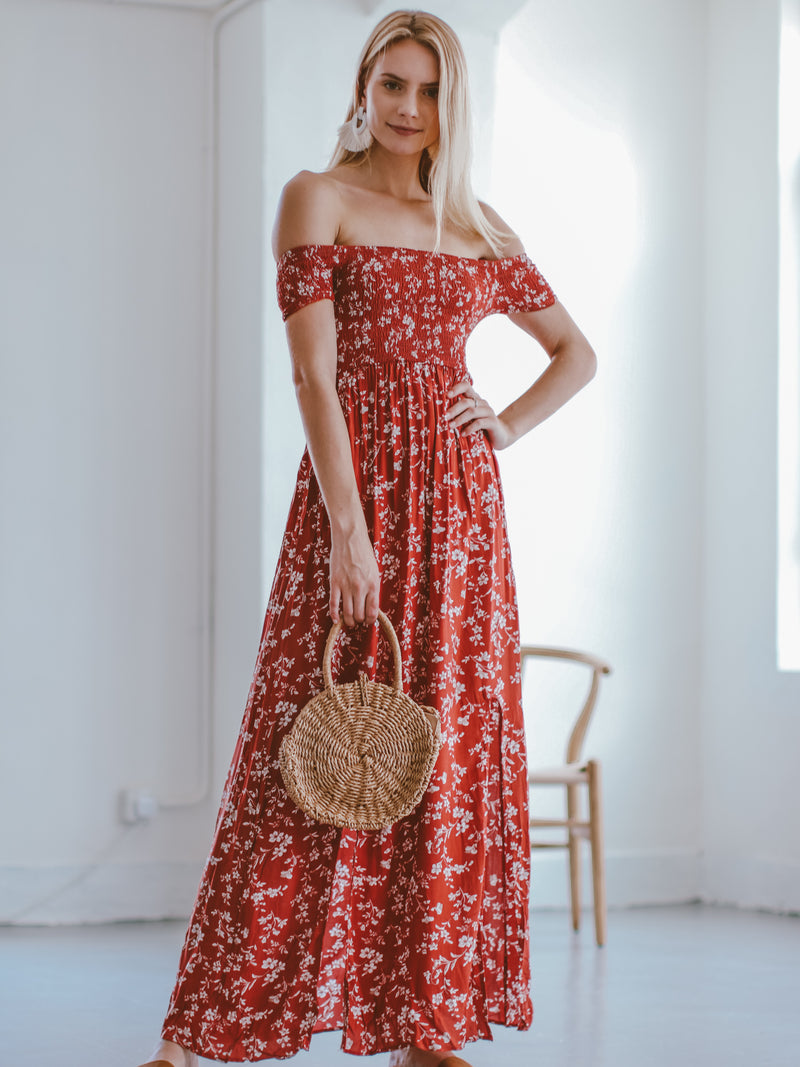 Goodnight Macaroon 'Maisie' Floral Off The Shoulder Maxi Dress Model Front Full Body