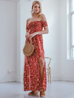 Goodnight Macaroon 'Maisie' Floral Off The Shoulder Maxi Dress Model Side Full Body