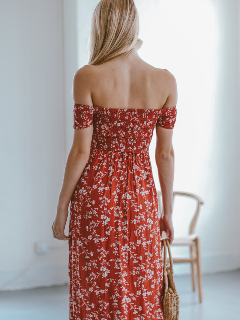 Goodnight Macaroon 'Maisie' Floral Off The Shoulder Maxi Dress Model Back Half Body