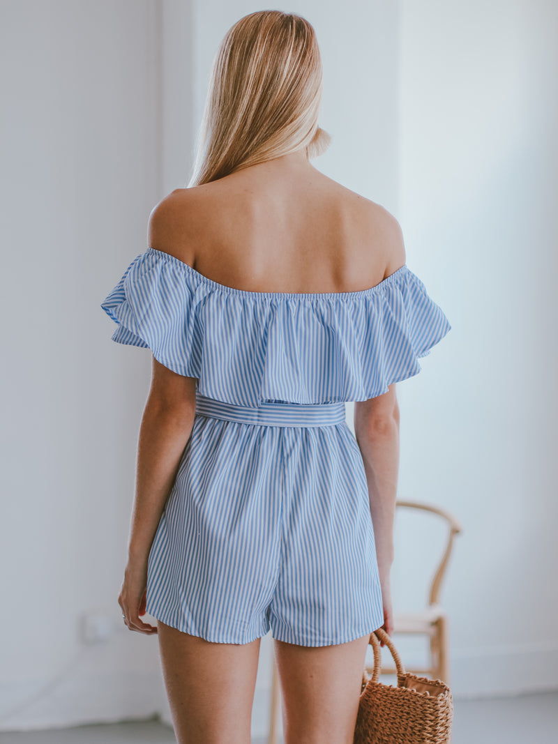 Goodnight Macaroon 'Cathie' Off The Shoulder Belted Striped Romper Model Back Half Body