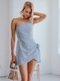 Goodnight Macaroon 'Candida' Single Shoulder Striped Linen Mini Dress Model Front Half Body