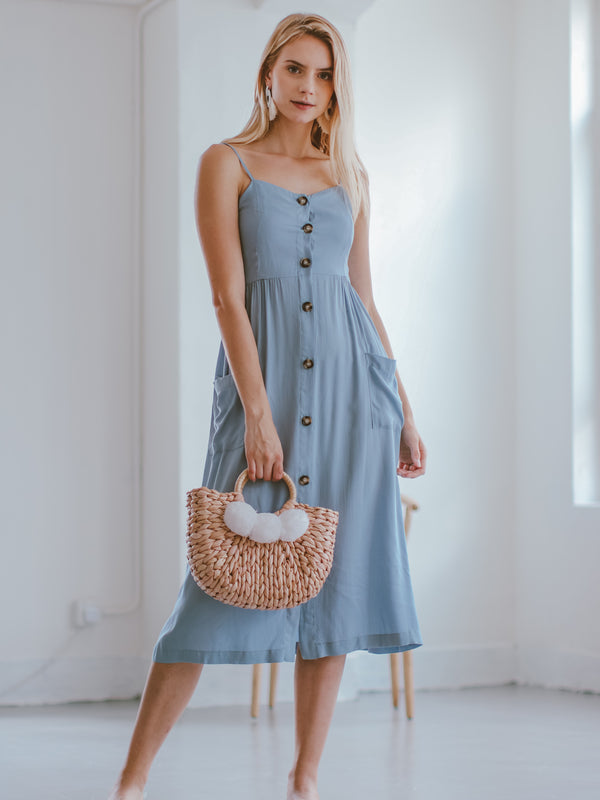 Goodnight Macaroon 'Delinda' Buttoned Midi Dress Model Front Full Body