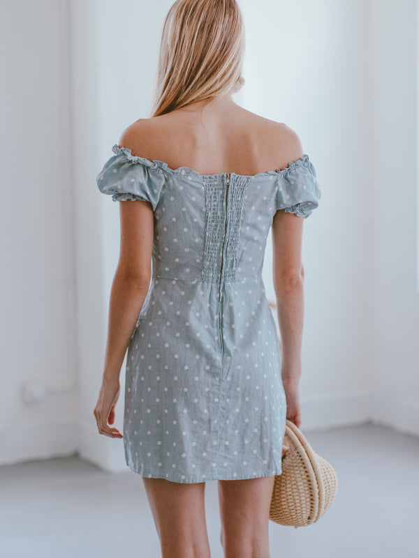 Goodnight Macaroon 'Jessusa' Lace-up Polka Dot Mini Dress Model Back Half Body