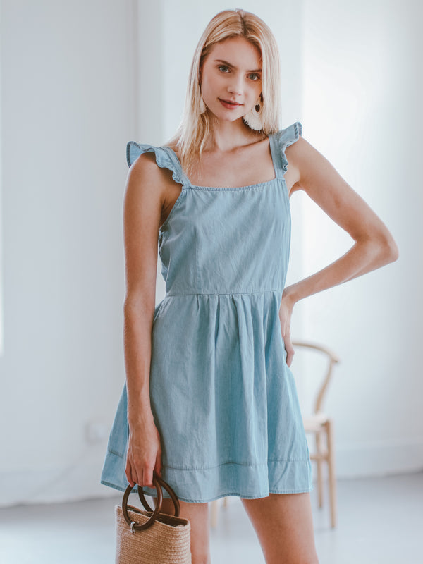 Goodnight Macaroon 'Launa' Chambray Back Tied Ruffle Mini Dress Model Front Half Body