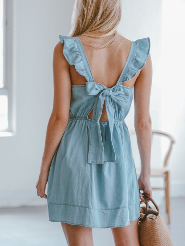 Goodnight Macaroon 'Launa' Chambray Back Tied Ruffle Mini Dress Model Back Half Body