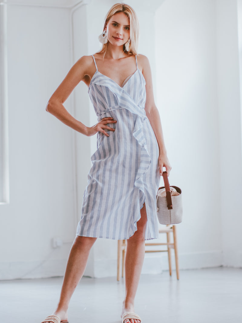 Goodnight Macaroon 'Cristy' Ruffle Striped Wrapped Midi Dress Model Front Full Body
