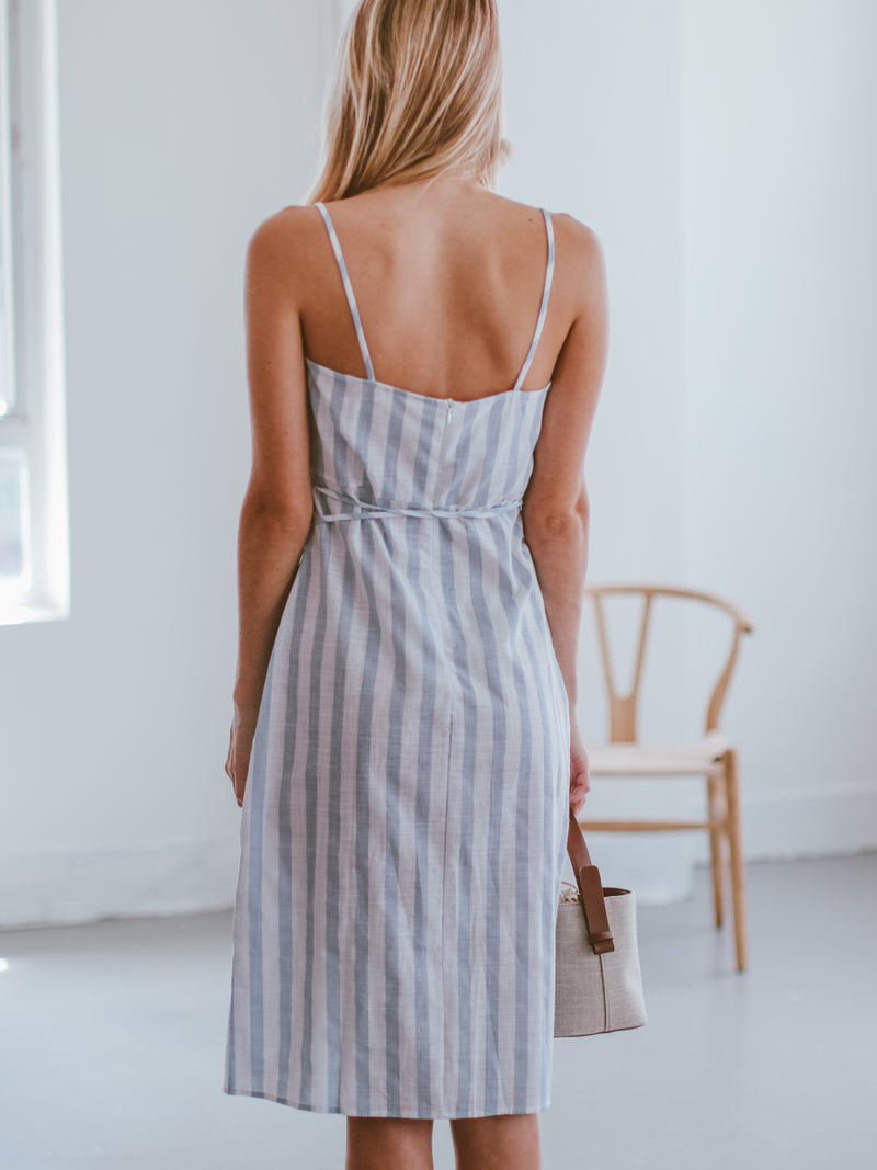Goodnight Macaroon 'Cristy' Ruffle Striped Wrapped Midi Dress Model Back Half Body
