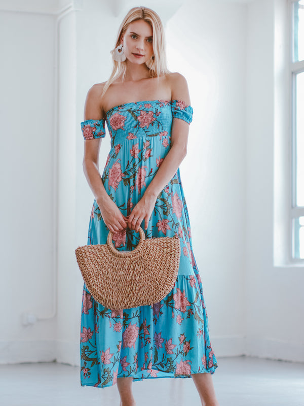 Goodnight Macaroon 'Latrina' Off The Shoulder Floral Maxi Dress Model Front Full Body