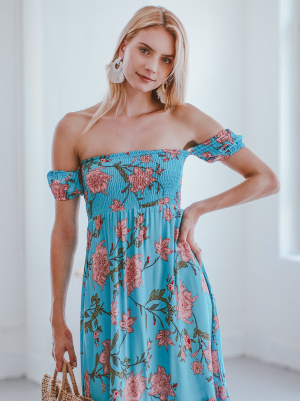 Goodnight Macaroon 'Latrina' Off The Shoulder Floral Maxi Dress Model Front Half Body