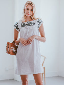 Goodnight Macaroon 'Neida' Boho Embroidered Square-neck Mini Dress Model Front Half Body