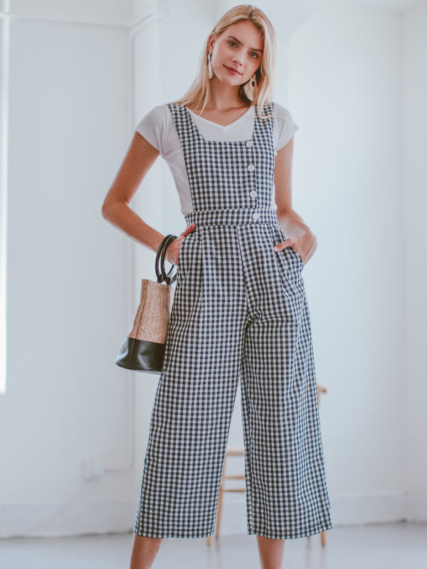 Goodnight Macaroon 'Leanora' Gingham Overall Jumpsuit Model Front Full Body 1