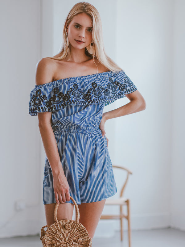 Goodnight Macaroon 'Desire' Striped Embroidered Off The Shoulder Romper Model Front Half Body