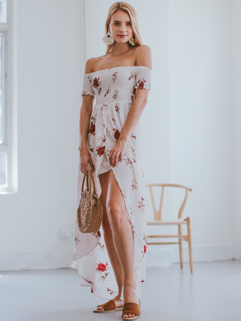 Goodnight Macaroon 'Karyl' Off Shoulder Ruched Floral Maxi Dress Model Side Full Body