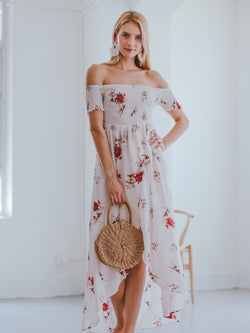 Goodnight Macaroon 'Karyl' Off Shoulder Ruched Floral Maxi Dress Model Front Full Body