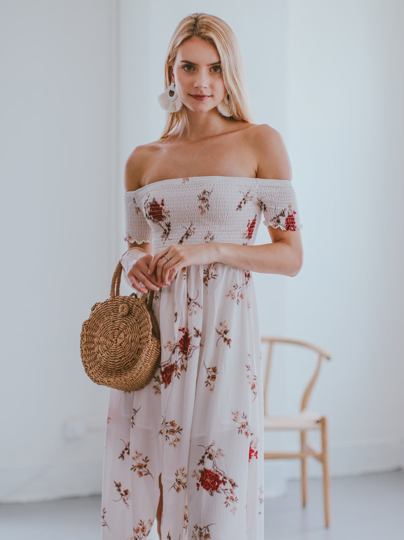 Goodnight Macaroon 'Karyl' Off Shoulder Ruched Floral Maxi Dress Model Front Half Body