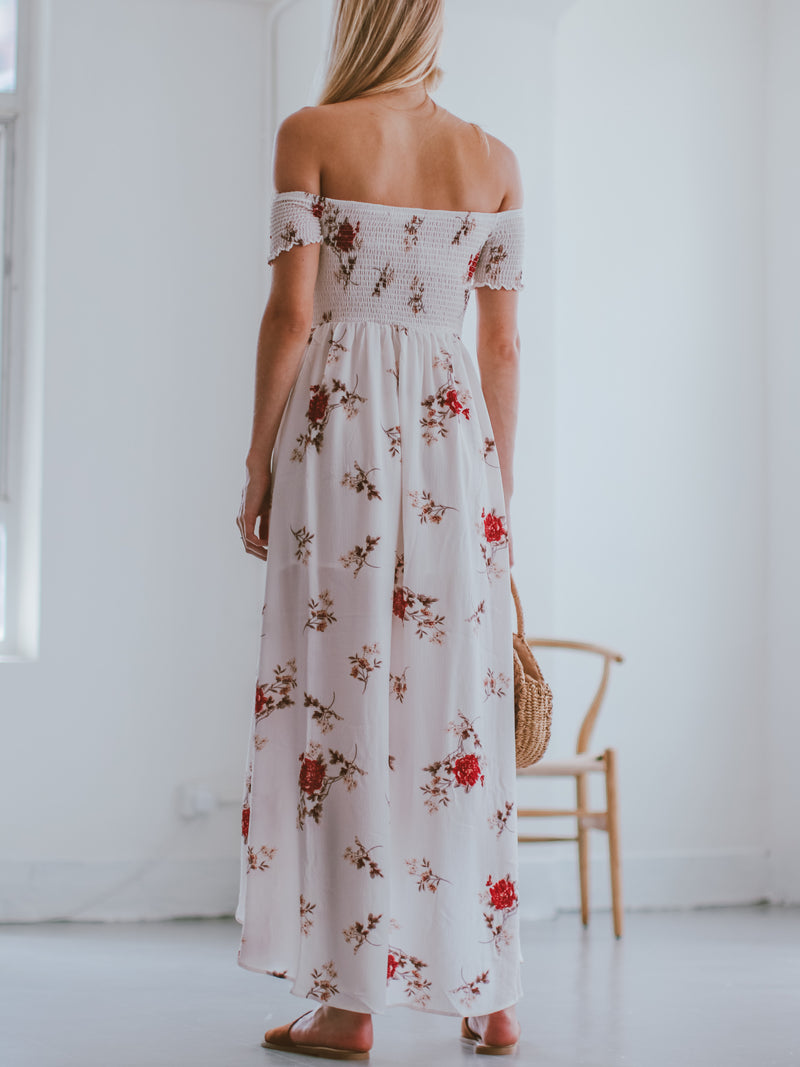 Goodnight Macaroon 'Karyl' Off Shoulder Ruched Floral Maxi Dress Model Back Full Body